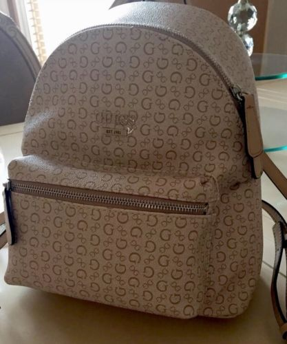 a044ec955 NEW Guess ZAYN Signature G Backpack Shoulder School Bag Purse KHAKI ...