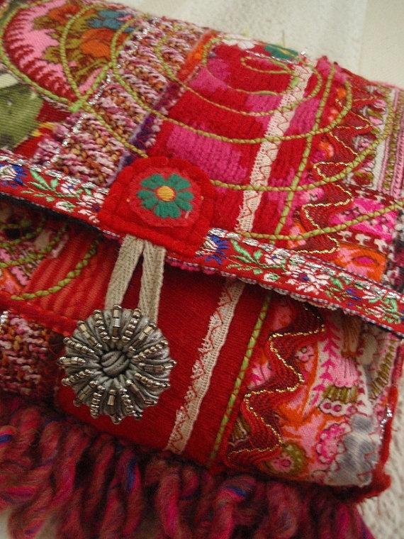 Shabby Chic Ethnic Boho Fiber Art Bag by PhiepbySophie on Etsy