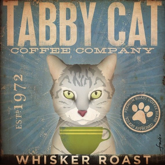 Perfect colors for my house - Tabby Cat Coffee Company graphic artwork giclee by geministudio, $39.00