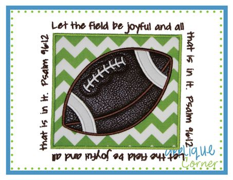 Football Patch with Verse Applique Design
