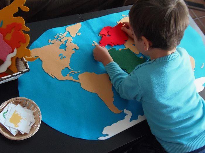 Mapamundi de fieltro Montessori