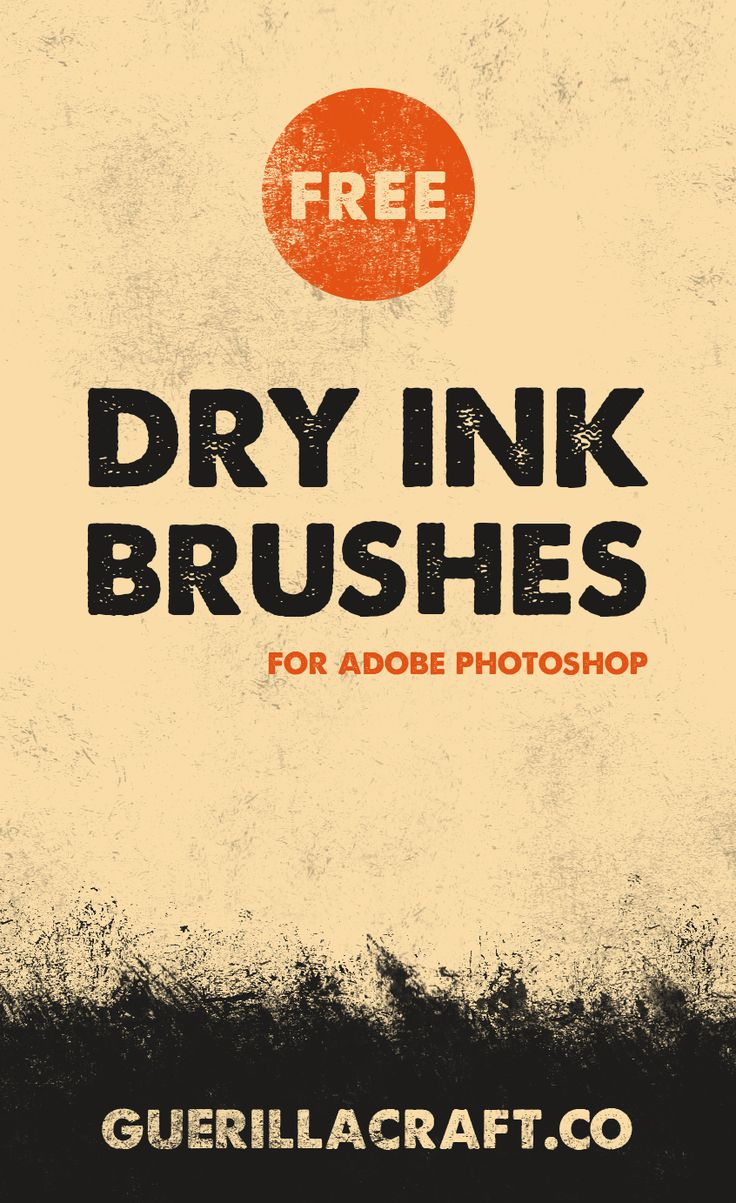 Dry Ink Brushes for Adobe Photoshop are made with ink and old magged brushes. In this FREE collection you will find 30 different kind of brushes – from wild strokes to ink splatters. Scanned in high resolution for texturing your graphic design. Download now for FREE! With Dry Ink Texture Brushes you can make vintage and retro effects in seconds. Just choose you graphics or type, make mask and paint with black in mask mode. Change brushes for more organic look!