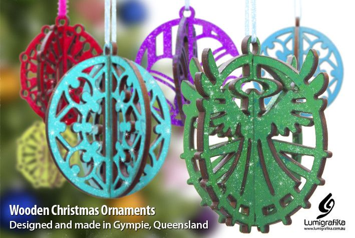 Original, locally designed lasercut Christmas decorations. - Lumigrafika, GraphicDesign, Gympie, QLD, 4570 - True Local