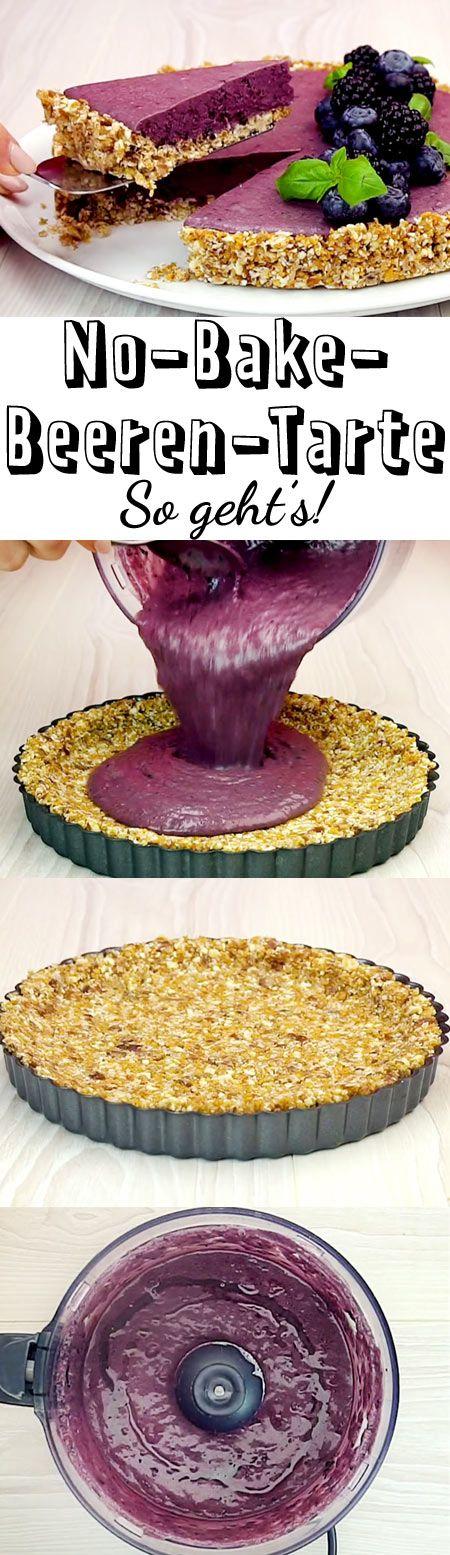 Die No-Bake-Beeren-Tarte besteht aus frischen Beeren und einem leckeren Boden aus Datteln, Mandeln und Kokosraspeln.