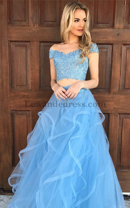 2018 Ruffled Layers Skirt Two Piece Prom Dress Blue 51617 Fancy