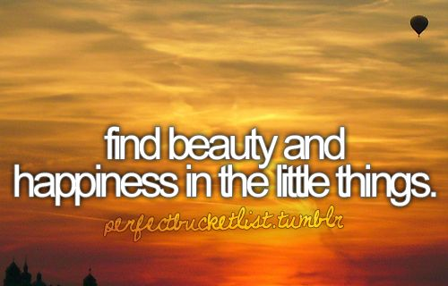 Find beauty and happiness in the little things.