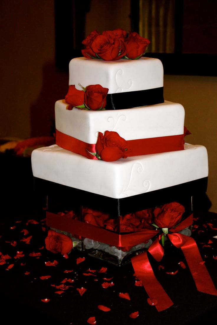 Red and Black Wedding Cakes | ... cakes: jessica/brent: black, red and white wedding square wedding cake