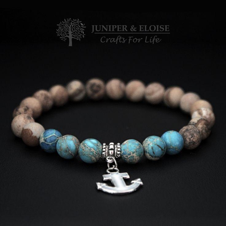 Mens Anchor Bracelet , Stretch Bracelet, 8mm Turquoise Variscite and Brown Matte Jasper with white anchor charm Nautical Bracelet, For Men by JuniperandEloise on Etsy