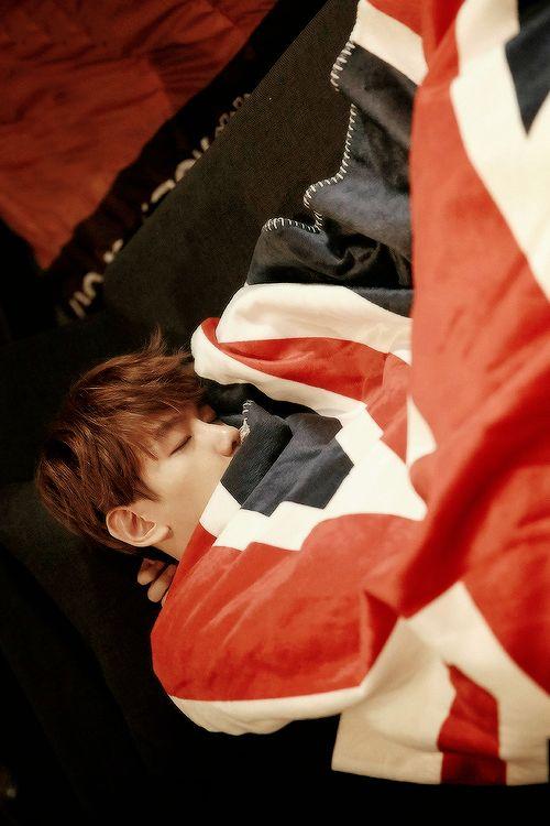 awww our sleeping beauty. cute little baekhyunnie