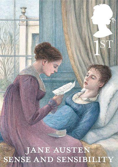 """Selo comemorativo dos 200 anos de """"Orgulho e preconceito"""" de Jane Austen. São 6 modelos, um para cada romance da escritora. Este é o de """"Razão e sentimento""""."""