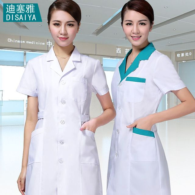 Wit Blauw zomer korte mouwen mannelijke arts kleding verpleegkundige uniform werkkleding apotheek experimentele overalls uniform tandarts