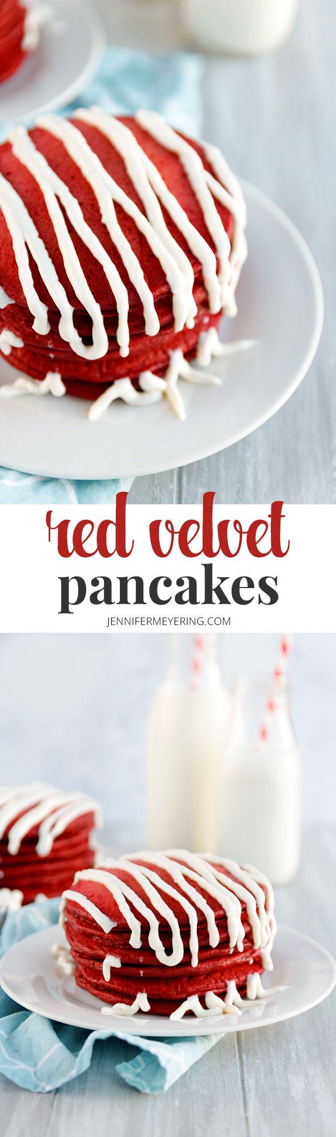 Red Velvet Pancakes - JenniferMeyering.com