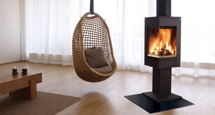 free standing stove could go in a corner or act as a link between the interior and exterior seating areas