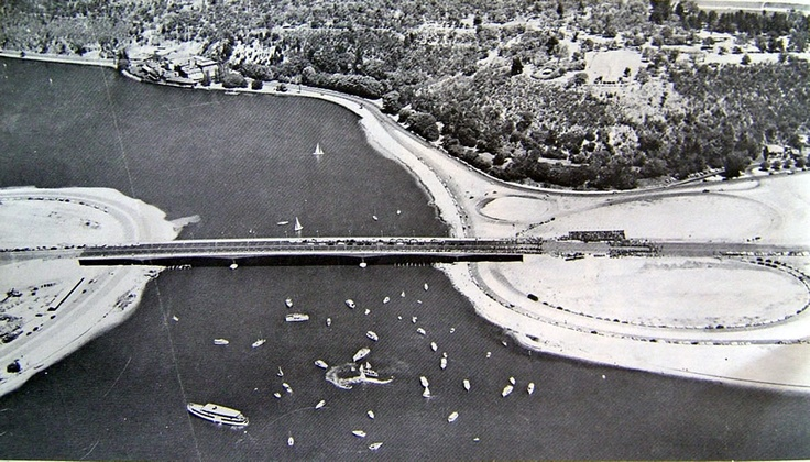 Opening of the Narrows Bridge on 13th November 1959. Kings Park is in the background.