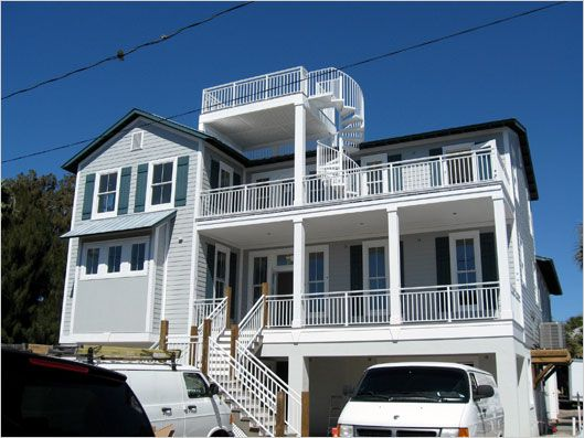 What s new at 92 north shore drive decking roof deck for Beach house plans roof deck