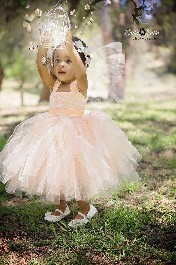"The ""Annabelle"" Lace Tutu Dress in Peach Custom Made"