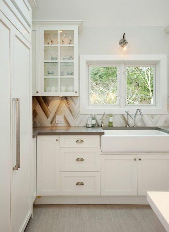 HGTV - kitchens - Behr - Silver Drop - off white cabinets, off white kitchen cabinets, taupe counters, taupe countertops, taupe quartz count...