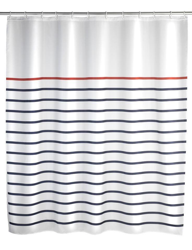 WENKO Duschvorhang Marine White 180 x 200 cm waschbar  Description: Der Duschvorhang Marine bietet eine gelungene Abwechslung im grauen Badezimmeralltag. Der blau-weiß-gestreifte Duschvorhang Marine eignet sich mit einer Breite von 180 cm sowohl für Duschen als auch Badewannen. Der hochwertig verarbeitete Duschvorhang ist aus besonders haltbarem Polyester hergestellt. Durch die Oberflächen-Veredelung ist das Material wasserabweisend. Er ist pflegeleicht und bei 30 C waschbar. Der obere Saum…