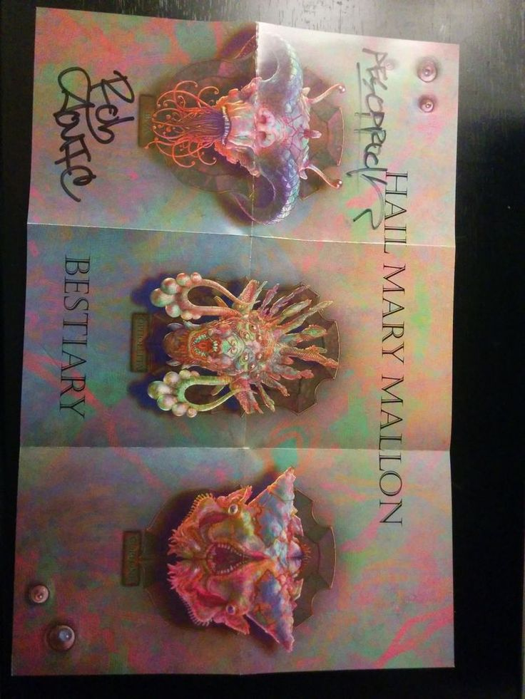 """Hail Mary Mallon autographed """"Bestiary"""" poster (Aesop Rock & Rob Sonic)"""