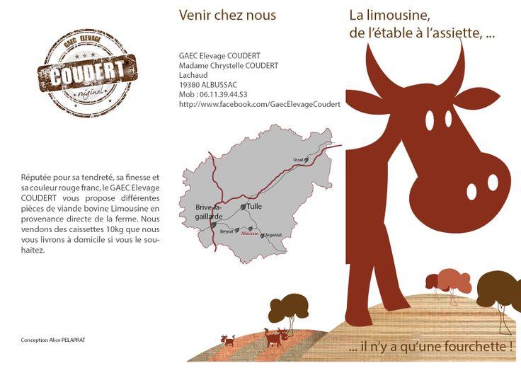 Flyer (extérieur) 3 volets pour la vente directe de viande bovine du GAEC Élevage Coudert