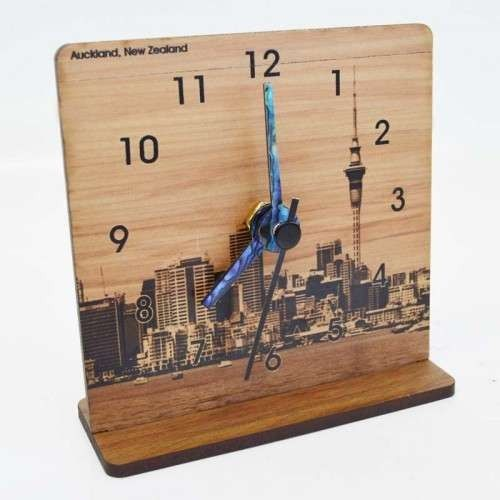 New Zealand Rimu Desk Clock - Auckland