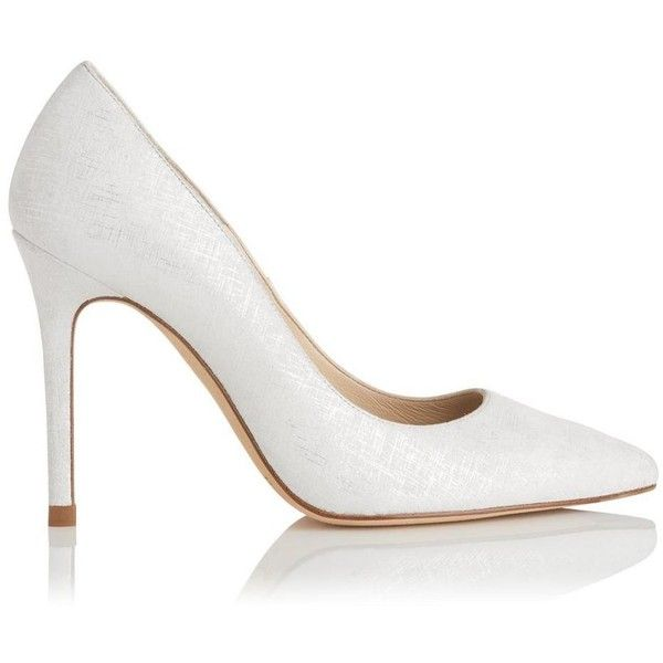 Fern White Silver Metallic Courts | Shoes | L.K.Bennett ($265) ❤ liked on Polyvore featuring shoes, pumps, white evening shoes, pointy toe shoes, evening shoes, white pointy toe pumps and white court shoes