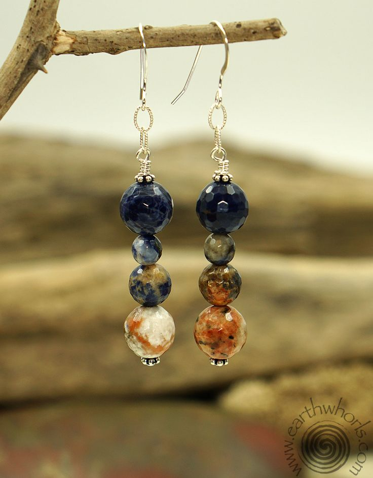 """The power of nature provides the endless possibilities for fashion.  Lapis & Sterling Silver Earrings by EarthWhorls.  $40.00 Length 2 1/4""""  Free shipping."""