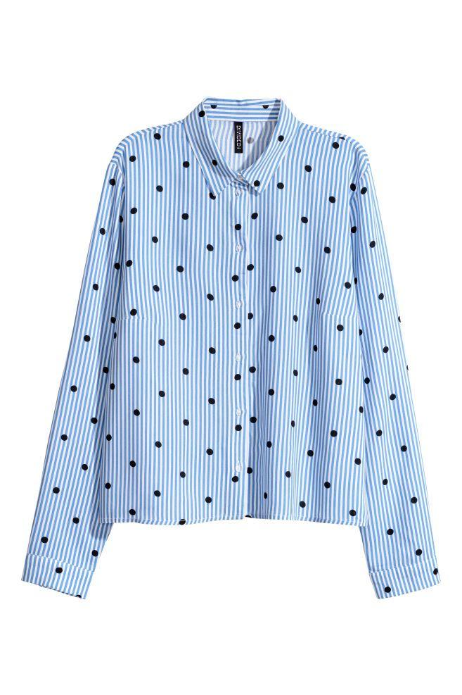 Azul H Viscosa Clarorayas Estampada Mujer amp;m 1 De Camisa Blancas Es UP0qxw70t