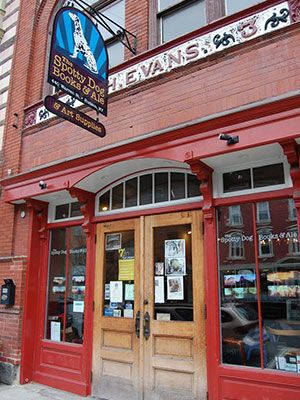 Spotty Dog Books & Ale: Home to the Evans Hook & Ladder Co., the C.H. Evans Firehouse was built in 1889. Fast-forward to 2004, when a descendant of the original Cornelius H. Evans (a hobbyist brewer) converted the two-story space into an independent bookstore and beer bar.: Ladder, Dogs Books, Independence Bookstores