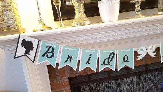 Tiffany Inspired Banner, Bridal Shower Banner, Bride to Be, Batchelorette Party, Tiffany Inspired Bridal Shower, Teal and White Themed Bridal Shower Etsy listing at https://www.etsy.com/listing/509071226/bride-to-be-banner-ms-to-mrs-teal-and