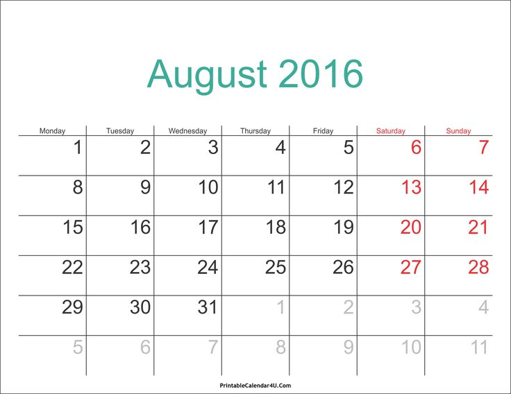 23 best August 2016 Calendar images on Pinterest 2015 calendar - sample monthly calendar