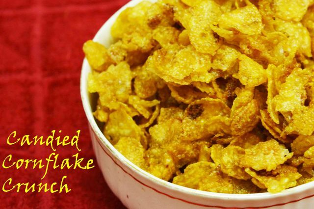 Candied Cornflakes Crunch  why to eat simple corn flakes when you can munch on these crunchy cornflakes #candied #caramel #cornflake #kidsfavorite #crunchy #topping #dessert Recipe at : www.annapurnaz.in
