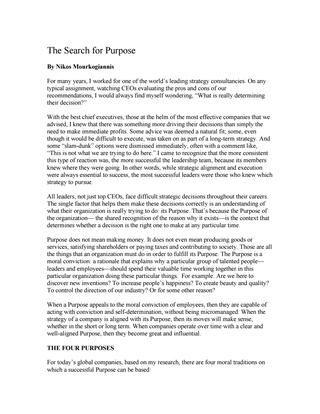"""#ΝίκοςΜουρκογιάννης: Άρθρο """"The search for Purpose"""""""