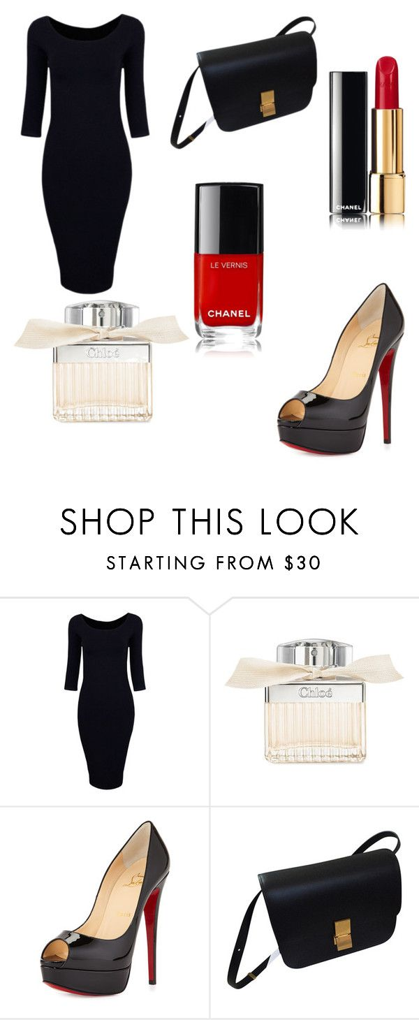 """""""black -red"""" by leenap on Polyvore featuring Chloé, Christian Louboutin and CÉLINE"""