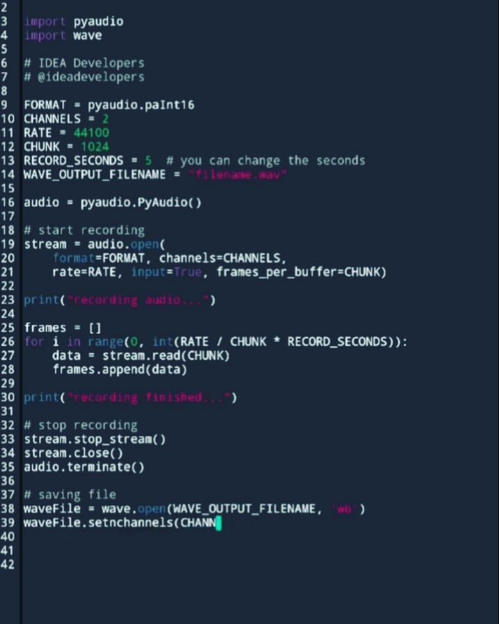 Simple code to record sound from the microphone in Python