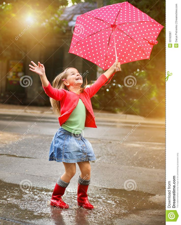 Child With Polka Dots Umbrella Wearing Red Rain Boots - Download From Over 30 Million High Quality Stock Photos, Images, Vectors. Sign up for FREE today. Image: 33162087