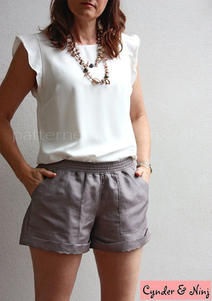 "PDF Pattern: Ladies Getaway Shorts sewing pattern by Pattern Emporium Sizes 6-22 (AU sizes) from 85-125cm seat (33.5-50.5"") Pattern shows both cm & inches Pictured: silk shorts, back pockets, topstitched waistband."