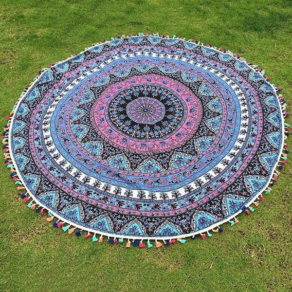 Bohemian Colorful Tassel Indian Elephant Totem Wall Hanging Yoga Mat Gypsy Cotton Tablecloth Round Beach Towel #hats, #watches, #belts, #fashion, #style