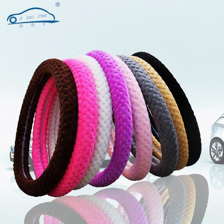 Pearl velvet Winter Car Steering Wheel Cover/Universal Soft Warm Plush Covers for steering women men girl car interior