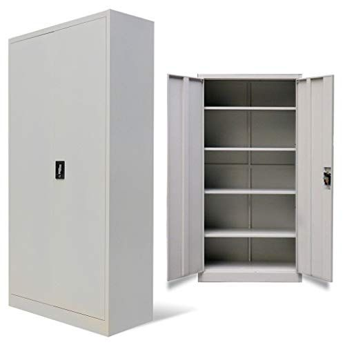 Metal Office Storage Filing Cabinet 2 Door Lockable Cupboard 5 Shelves Furniture Metal Storage Cabinets Locker Storage Cupboard Storage