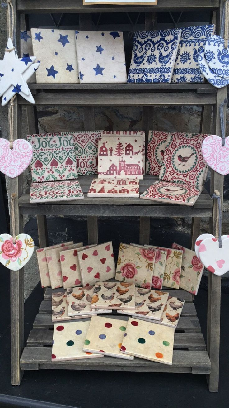 Handmade hearts and coasters in Emma Bridgewater patterns....