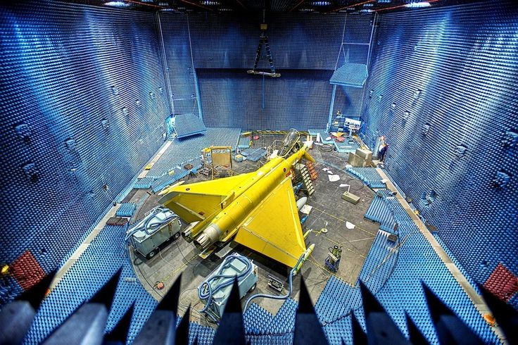 Eurofighter Typhoon in the Anechoic Chamber BAE Systems Electronic Warfare Test Facility, Warton, Lancashire, UK image credit: BAE Systems / Ray Troll