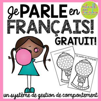 FREE French gum ball machines   parler en français   gestion de classe   système de récompense
