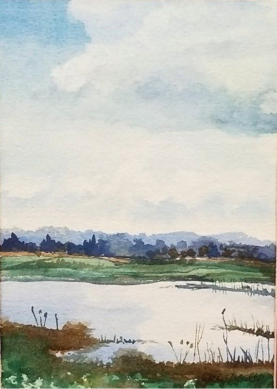 Niki Gessler Summer Lake Watercolor Painting Shopgoodwill Com In 2020 Landscape Paintings Summer Lake Painting