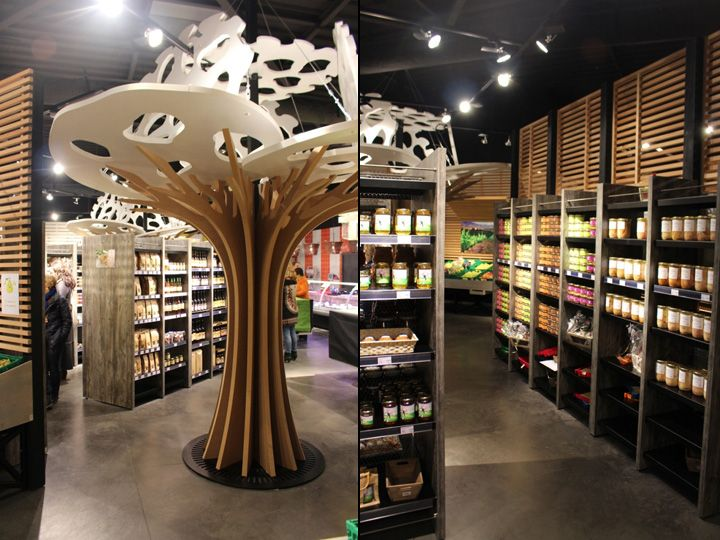 Интерьер магазина продуктов в стиле сельского рынка