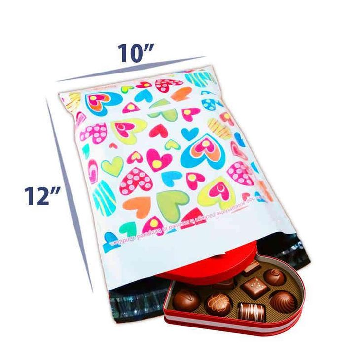 10 x 12 Premium Printed Courier Bags (Hearts) For Stationery Packing Products.
