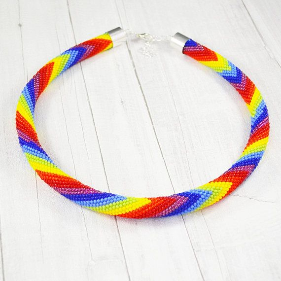 Rainbow necklace Seed beads necklace Summer jewelry Colour