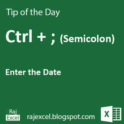 Learn Microsoft Excel: Tips of the Day Using Ctrl + ; (semicolon) Shortcut Key Microsoft Excel