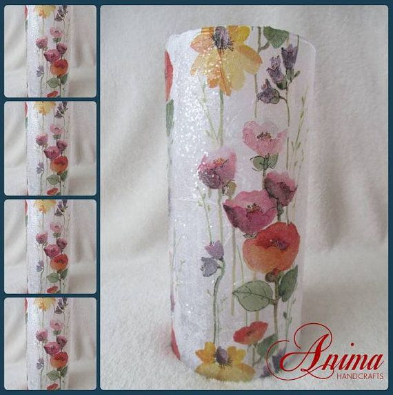 Decoupaged glass vase with floral pattern by AnimaHandcrafts, $24.99