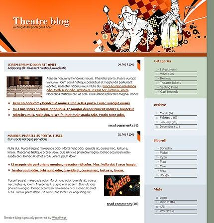 Theatre Blog WordPress Themes by Di